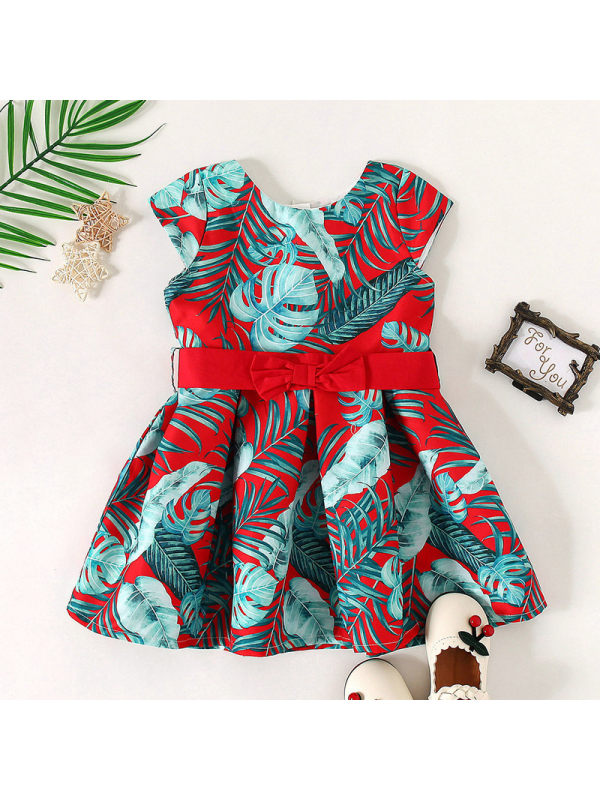 【18M-7Y】Sweet Flowers Round Neck Short Sleeve Red Dress
