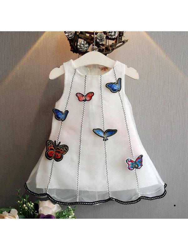 【12M-7Y】Girls Sweet Three-dimensional Cloth Patch Organza Vest Dress