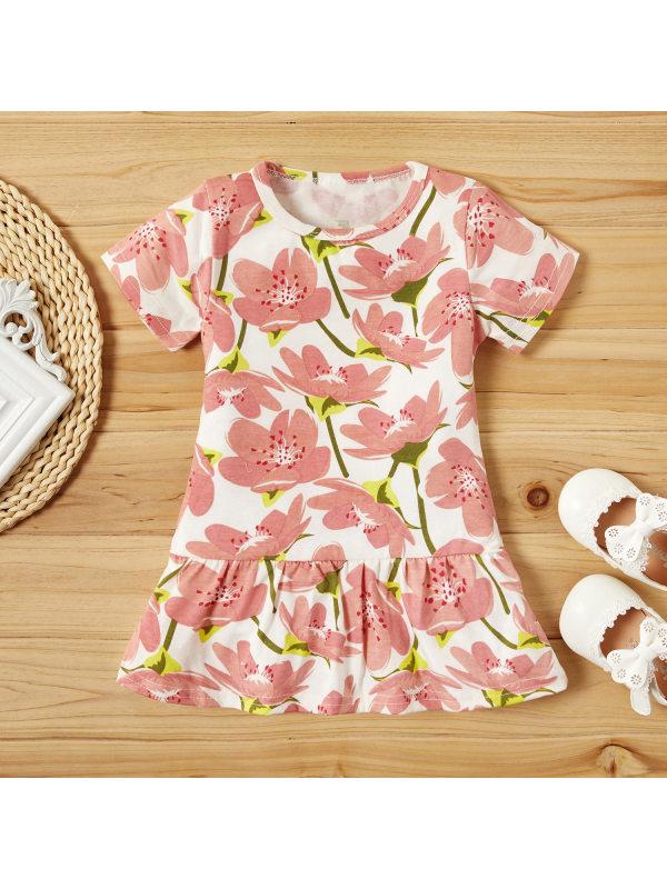 【18M-7Y】Girls Sweet Flower Full Print Short Sleeve Dress