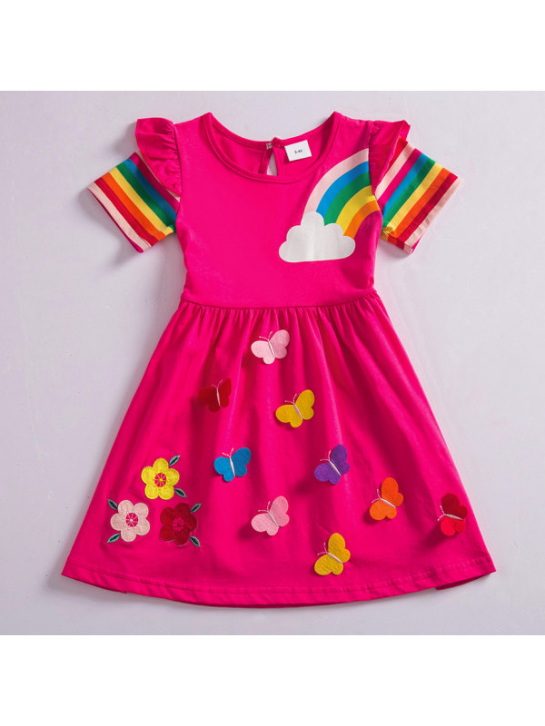 【18M-7Y】Cute Rainbow And Butterfly Round Neck Short Sleeve Dress