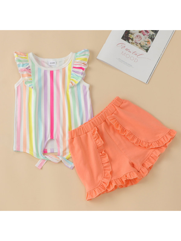 【12M-5Y】Colorful Striped Top And Orange Shorts Set