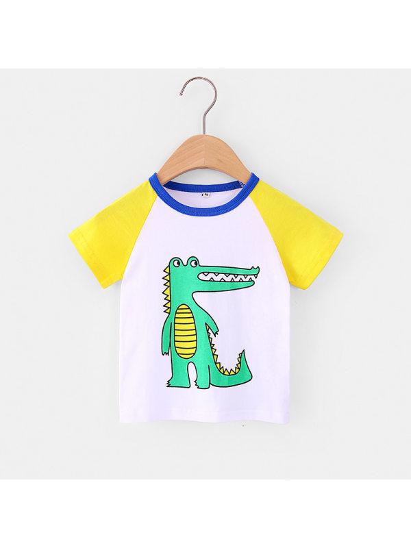 【18M-7Y】Boys Hit Color Stitching Cartoon Print Short Sleeve T-shirt