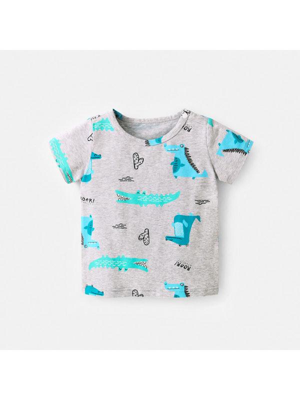 【18M-7Y】Boys Cartoon Crocodile Print Short Sleeve T-shirt
