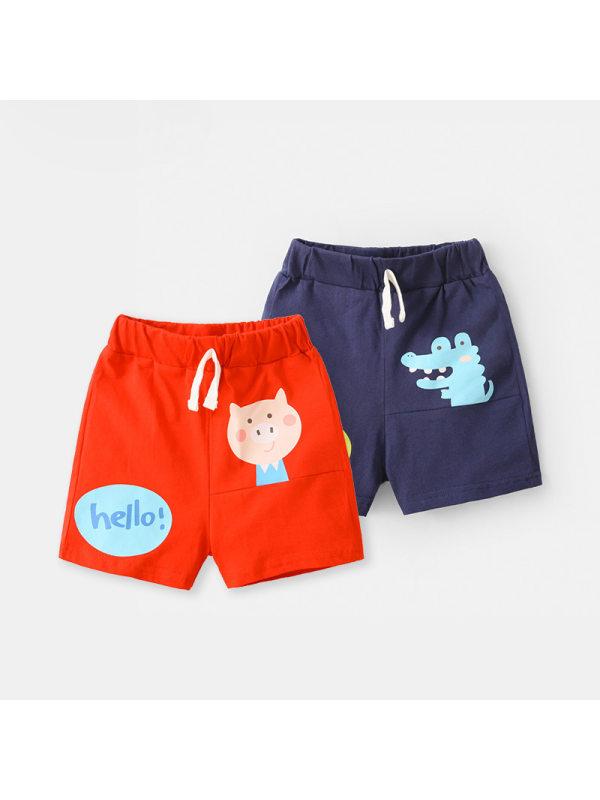 【12M-7Y】Boys' Cartoon-print Casual Five-point Pants