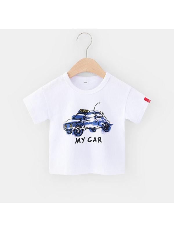 【18M-7Y】Boys Cartoon Print Short Sleeve T-shirt