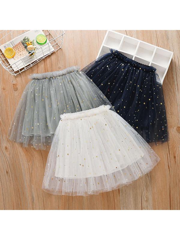 【18M-7Y】Girls Sweet Star Glitter Net Gauze Bust Tutu Skirt