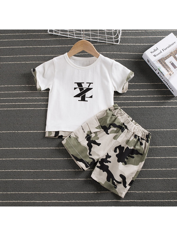 【12M-4Y】Boys Round Neck Short-sleeved Letter Print with Camouflage Shorts Two-piece Suit