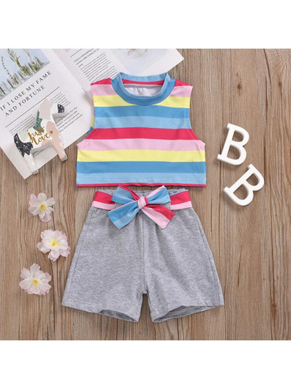 【12M-5Y】Girls Rainbow Striped Top Short Sleeve Shorts Set