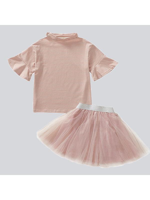 【3Y-15Y】Girls Short Sleeve Princess Half Skirt Two-piece Suit
