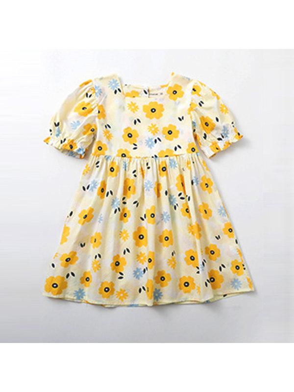 【4Y-13Y】Girls' Short-sleeved Cotton Printed Dress