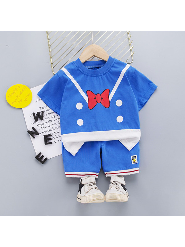 【12M-4Y】Boys Bow Tie Suspenders Printed Round Neck Short-sleeved Splicing Top with Shorts Two-piece Suit