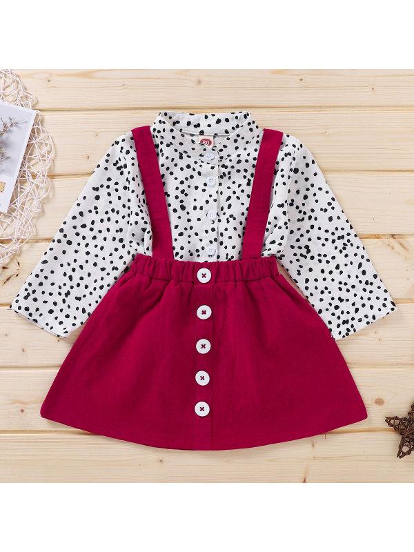 【12M-5Y】Girls Fashion Casual Polka Dot Shirt Suspender Skirt Set