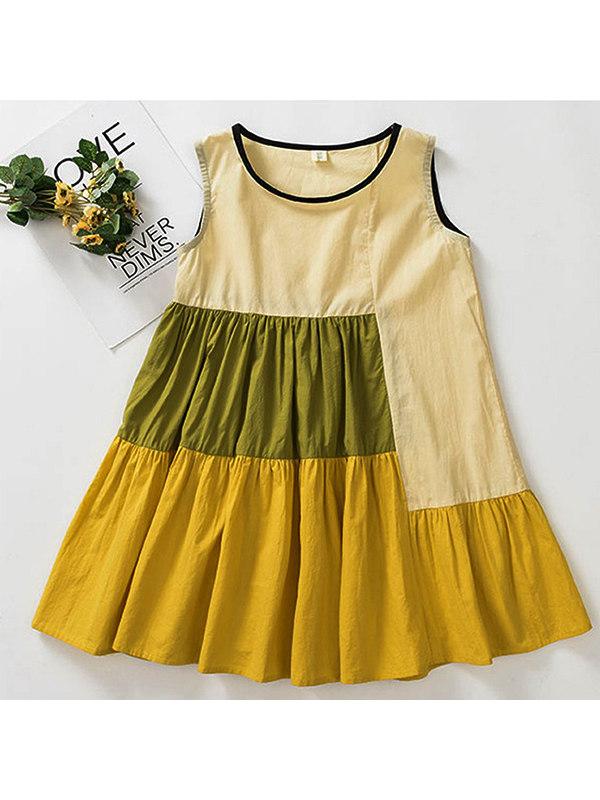 【3Y-15Y】Girls Loose Stitching Vest Dress