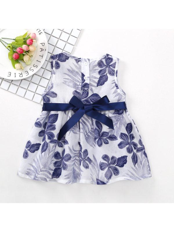 【12M-5Y】Girls Fresh Sweet Leaf Full Print Sleeveless Vest Dress