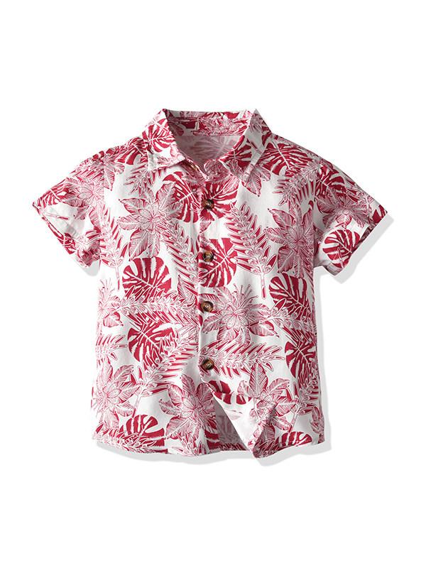 【12M-7Y】Boys Lapel Short Sleeve Printed Casual Shirt