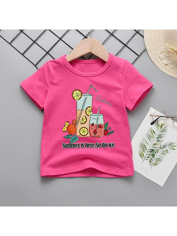 【18M-9Y】Girls Cartoon Print Short-sleeved T-shirt