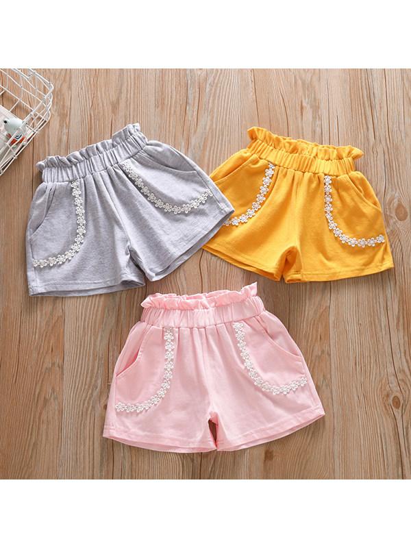 【18M-7Y】Girls Lace Pocket Solid Color Wide Leg Shorts - 3202