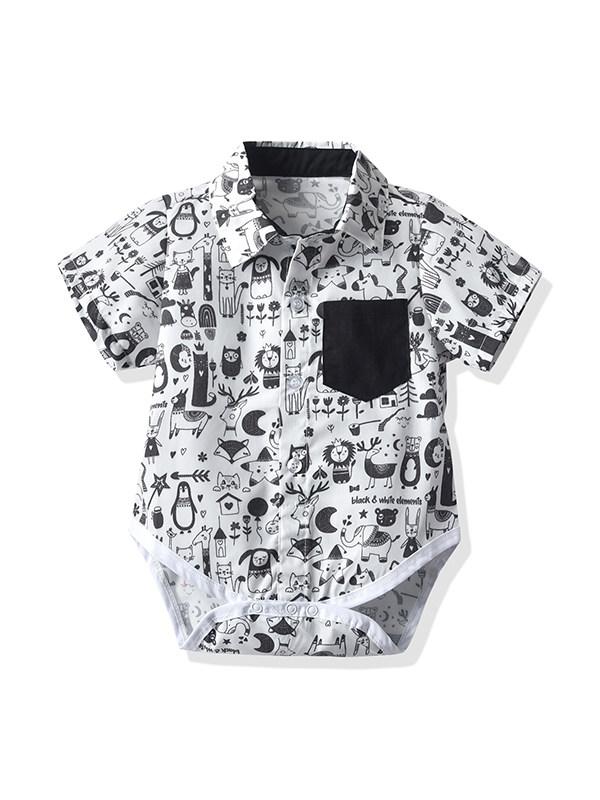 【6M-3Y】Baby Boy Lapel Short-sleeved Cartoon Print Romper