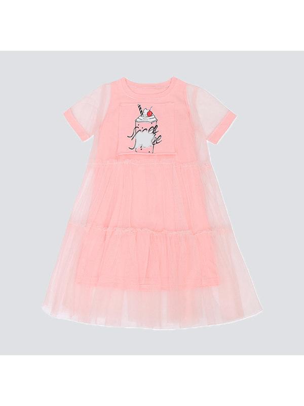 【3Y-15Y】Big Girls Casual Short-sleeved Mesh Stitching Dress