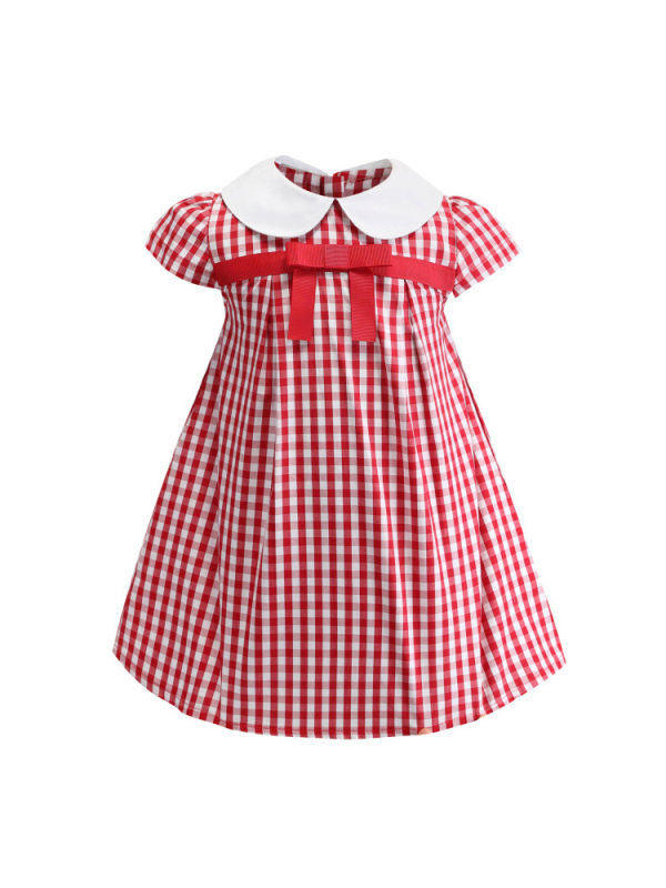 【18M-7Y】Cute Red Plaid Short Sleeve Dress