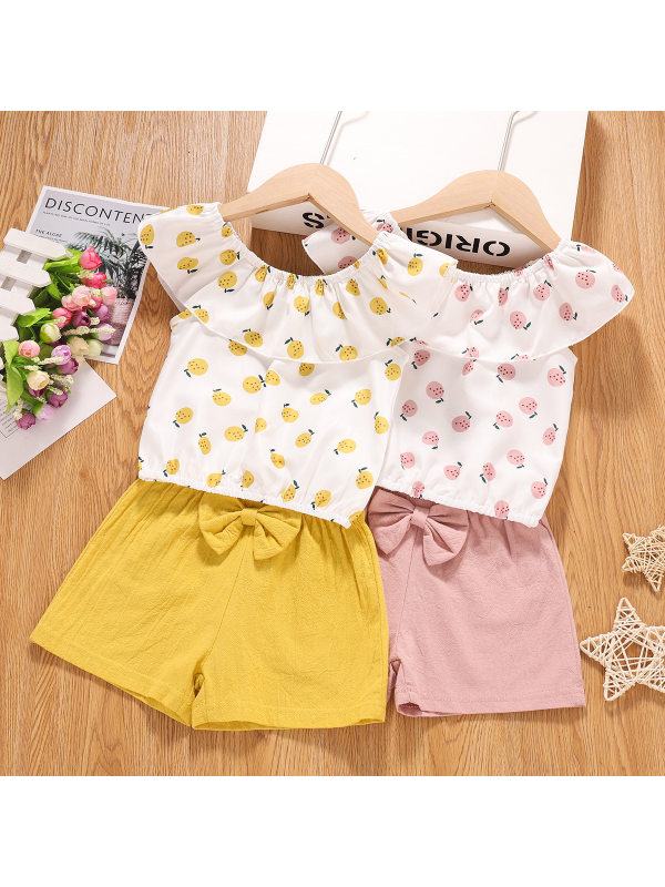 【18M-5Y】Girls Sweet Cute Fruit Print Sleeveless Top Bow Shorts Suit