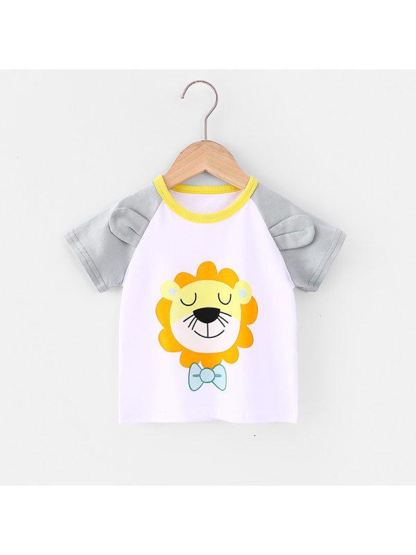 【18M-7Y】Boys Color Stitching Cartoon Print Short Sleeve T-shirt