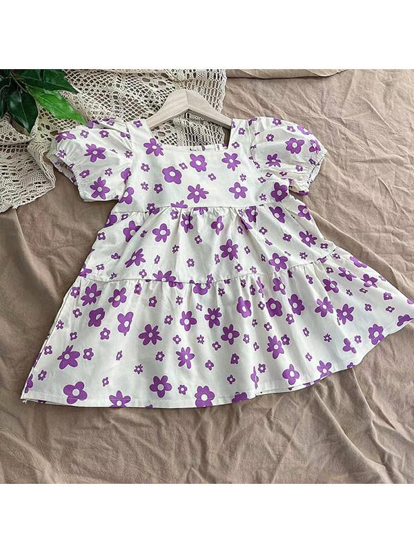【18M-7Y】Girls Cotton Purple Flower Puff Sleeve Dress
