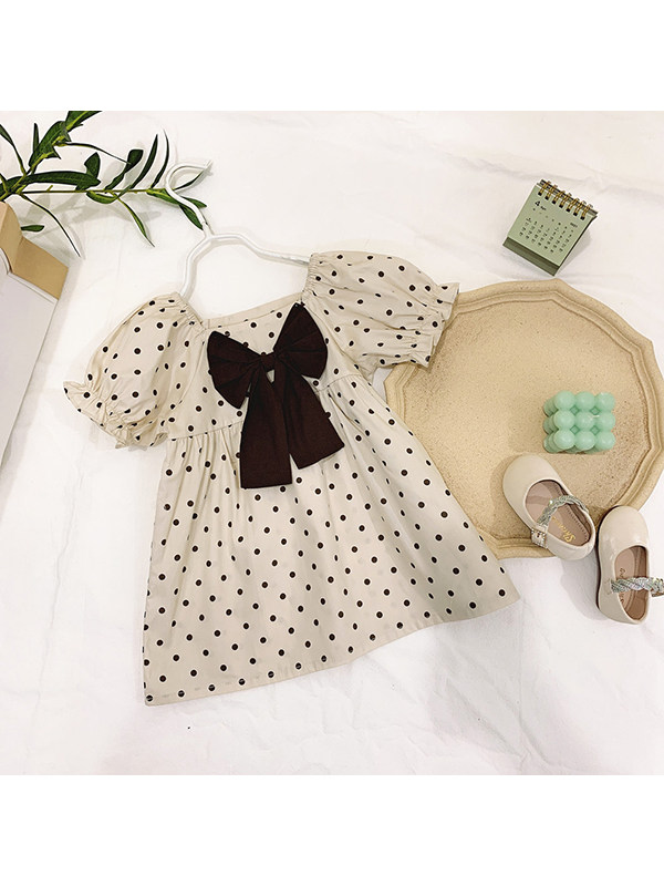 【12M-5Y】Girls' Cotton Square Neck Polka Dot Bowknot Puff Sleeve Dress