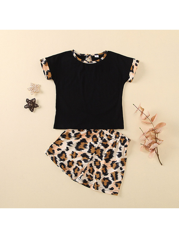 【18M-7Y】Girls Solid Color Short-sleeved Round Neck Top with Leopard Print Shorts Suit