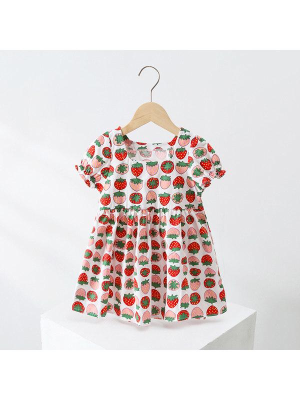 【18M-5Y】Girls Strawberry Print Dress
