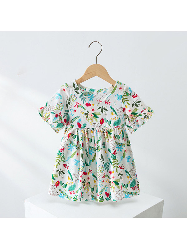 【18M-5Y】Girls' Flower Short-sleeved Dress