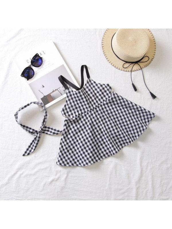 【12M-5Y】Girls Classic Black White Plaid Shoestring Strap Dress