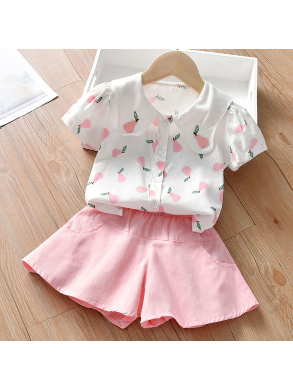 【18M-7Y】Sweet Pear Print Shirt and Pure Color Shorts Set