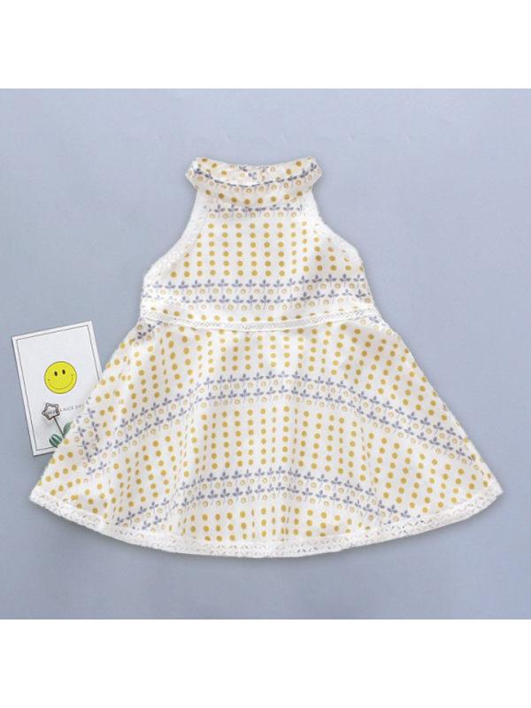 【12M-7Y】Girls Fresh Sweet Polka Dot Bohemian Sleeveless Dress