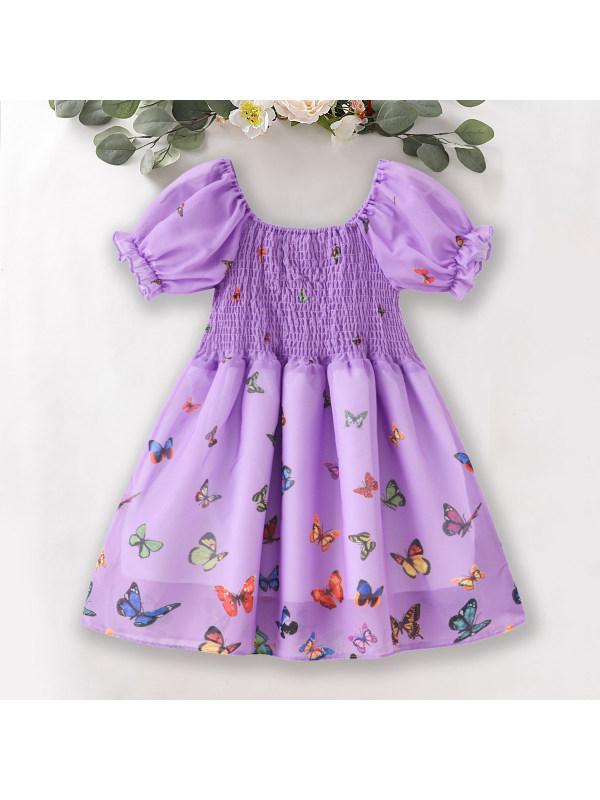 【18M-7Y】Sweet Butterfly Print Puff Sleeve Chiffon Dress - 3383