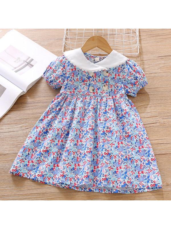 【18M-7Y】Sweet Purple Flower Puff Sleeve Dress