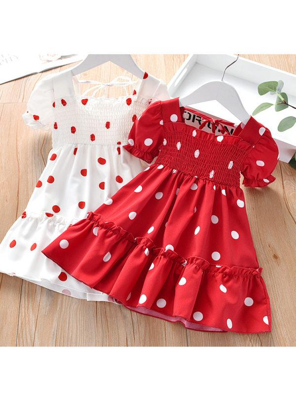 【18M-9Y】Sweet Polka Dot Puff Sleeve Dress - 33115