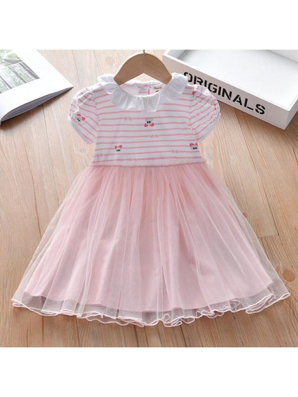 【18M-9Y】Cute Cartoon And Stripe Print Pink Mesh Dress