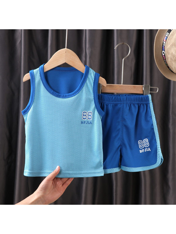 【3Y-13Y】Boys Breathable Sleeveless Vest Sports Two-piece Suit