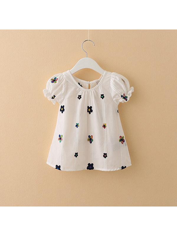 【18M-9Y】Girls Round Neck Puff Sleeve Flower T-shirt