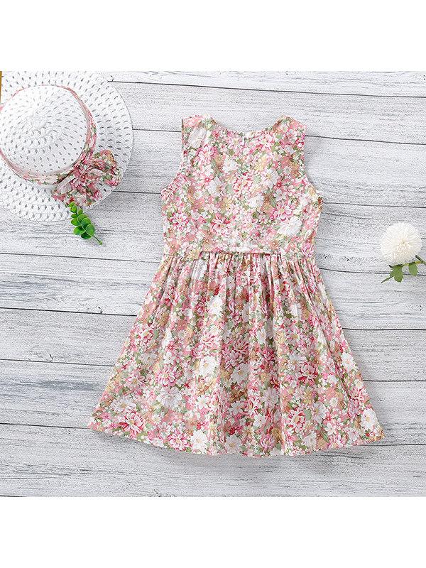 【18M-7Y】Girls Floral Print Vest Dress