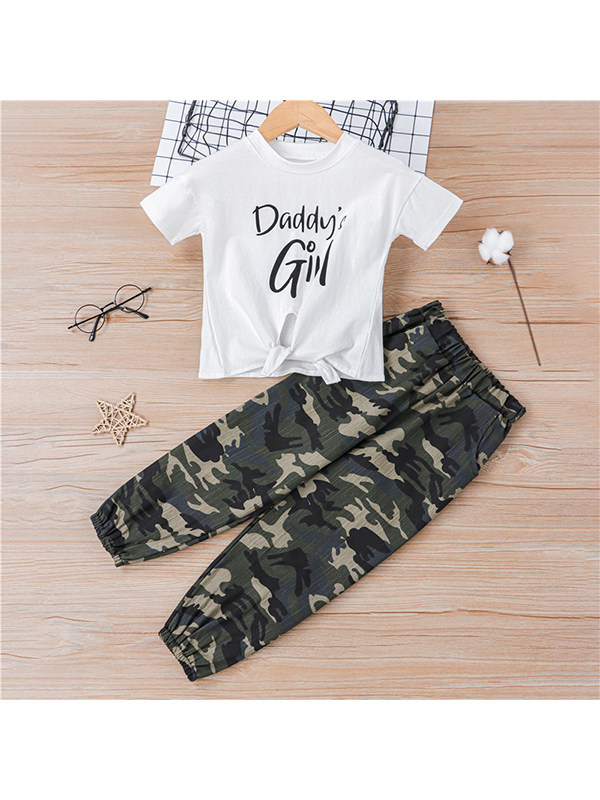 【18M-7Y】Girls' Round Neck Short-sleeved Letter Printed T-shirt With Camouflage Trousers Suit