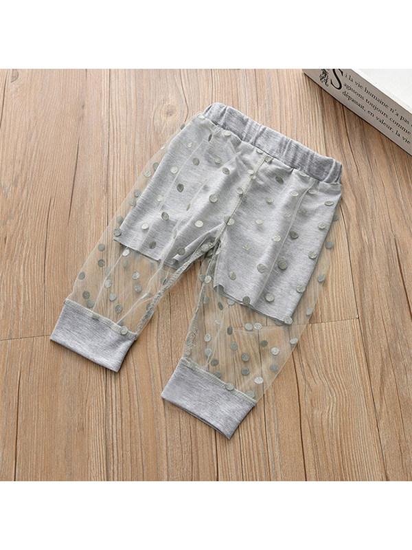 【18M-7Y】Girls' Polka Dot Mesh Thin Mosquito Pants