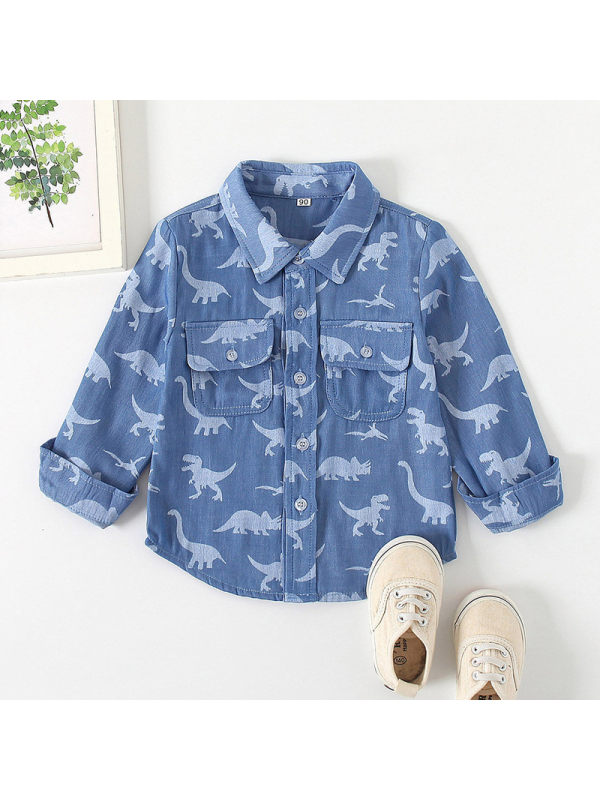 【18M-7Y】Boys Long Sleeve Dinosaur Print Lapel Shirt