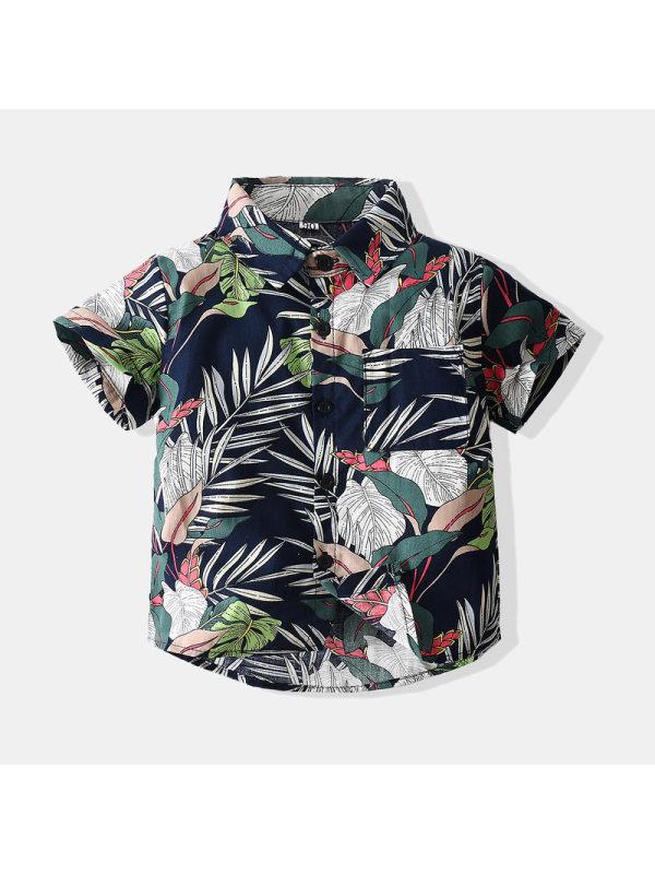 【12M-5Y】Boys Tropical Print Short-sleeved Shirt