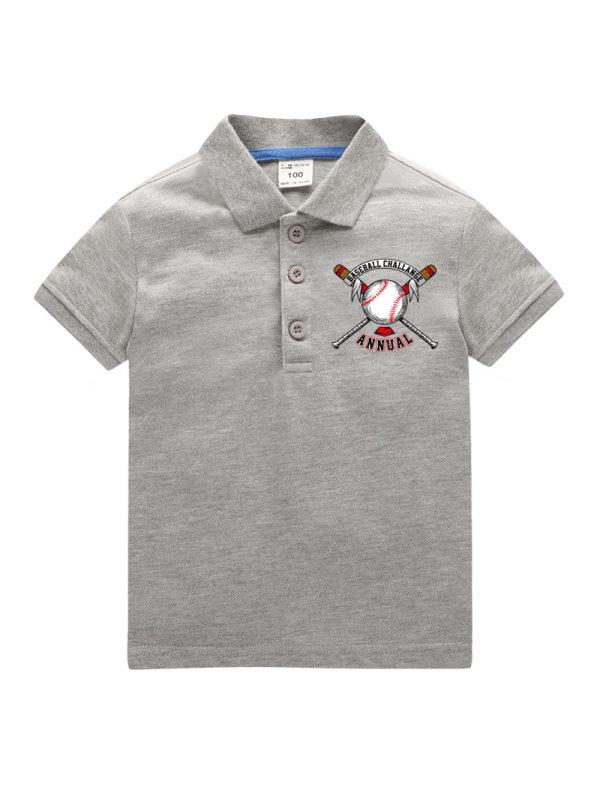 【18M-11Y】Boys Letter Print Short Sleeve POLO Shirt