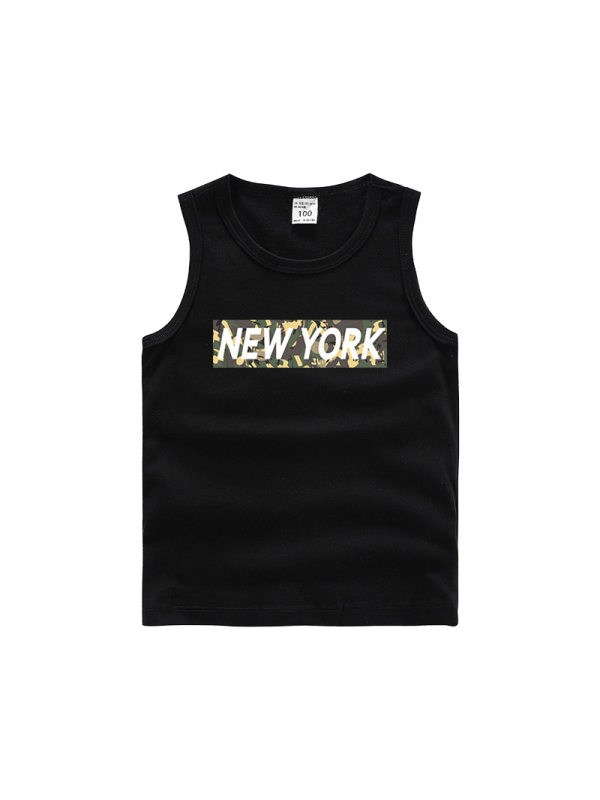 【18M-11Y】Boys' Letter Print Trendy Sleeveless Vest