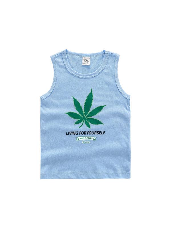 【18M-11Y】Boys Leaf Print Trendy Sleeveless Vest
