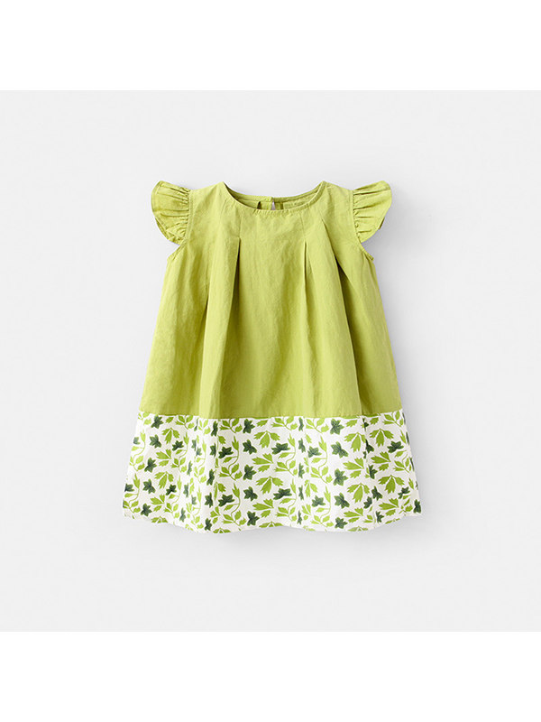 【12M-7Y】Girls Leaf Print Stitching Dress