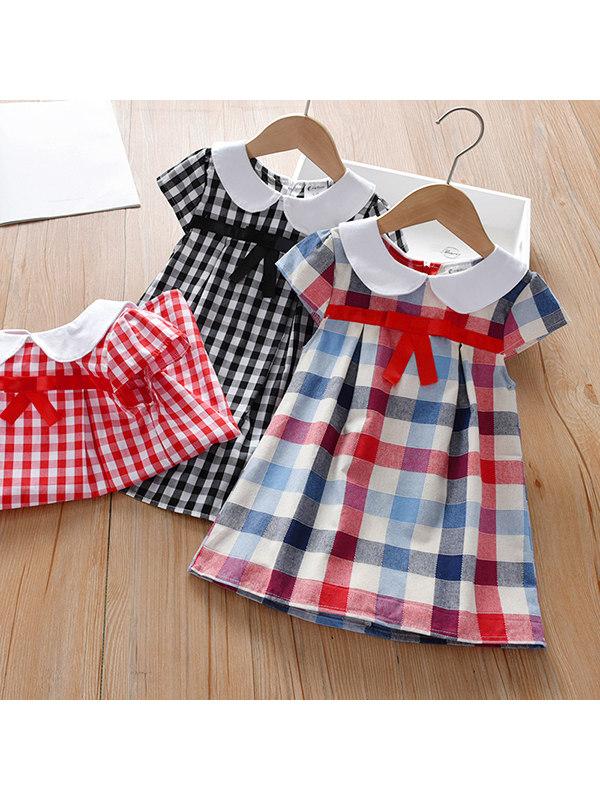【12M-7Y】Girls Waist Ribbon Plaid Dress